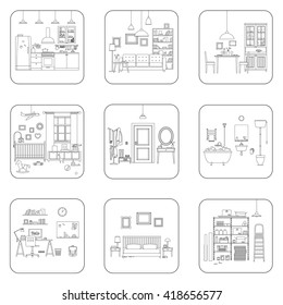 Set of line interior rooms. Thin illustrations of bathroom, living room, kitchen, etc.