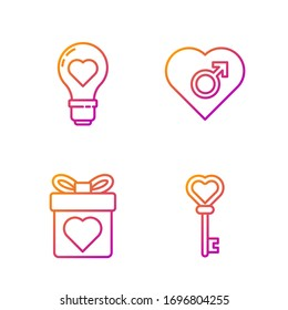 Set line Key in heart shape, Gift box with heart, Heart shape in a light bulb and Heart with male gender. Gradient color icons. Vector