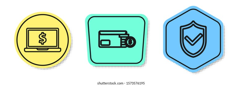 Set line Laptop with dollar symbol, Envelope with coin dollar symbol and Shield with check mark. Colored shapes. Vector