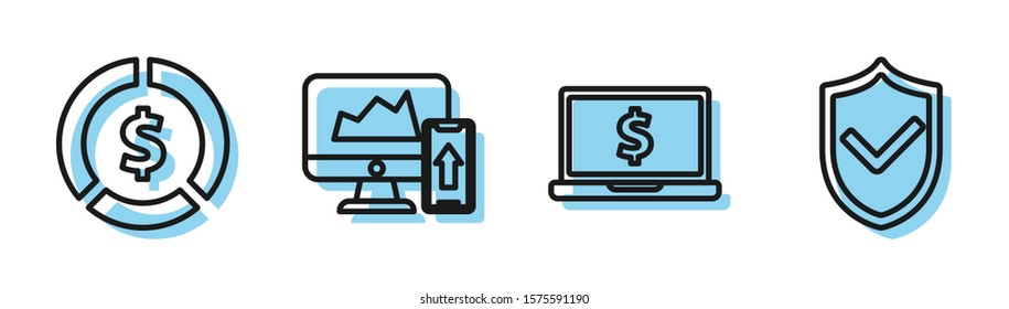 Set line Laptop with dollar symbol, Coin money with dollar symbol, Financial chart or graph on the computer monitor and mobile phone and Shield with check mark icon. Vector