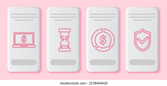 Set line Laptop with dollar symbol, Old hourglass with flowing sand, Coin money with dollar symbol and Shield with check mark. White rectangle button. Vector