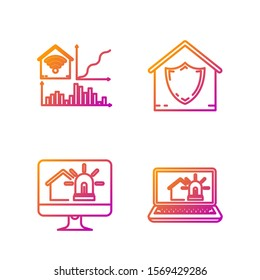 Set line Laptop with smart house and alarm, Computer monitor with smart house and alarm, Smart home with wi-fi and House under protection. Gradient color icons. Vector