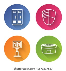 Set line Locker or changing room for football, basketball team or workers, Football club logo, Sport football mechanical scoreboard and result display and Football stadium. Color circle button. Vector