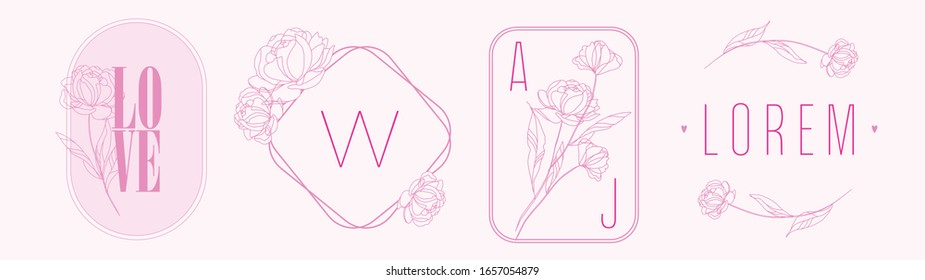 Set of line Logo design frames with floristic elements. Pink ready to make  elegant feminine logo templates with peony flowers. Line art, floral contour shapes. Botanical logo arrangement.