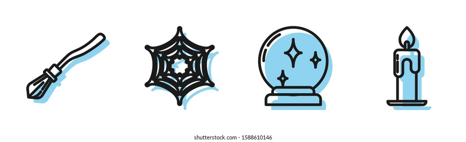 Set line Magic ball , Witches broom , Spider web  and Burning candle  icon. Vector