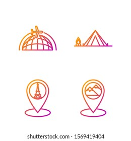 Set line Map pointer with mountain, Map pointer with tower, Globe with flying plane and Tourist tent with wood fire. Gradient color icons. Vector