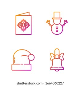 Set line Merry Christmas ringing bell, Christmas Santa Claus hat, Christmas postcard and Christmas snowman. Gradient color icons. Vector