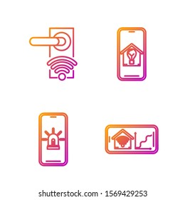 Set line Mobile phone with smart home with wi-fi, Mobile phone with smart house and alarm, Digital door lock with wireless technology for unlock and light bulb. Gradient color icons. Vector