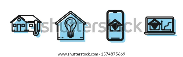 Set line Mobile phone with smart home with wi-fi, House temperature, Smart house and light bulb and Laptop with smart home with wi-fi icon. Vector