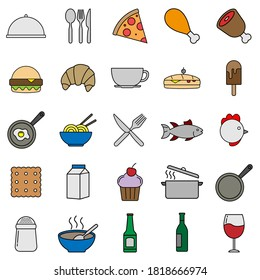 Set of line modern color icons for restaurant and food. Modern simple graphic elements.