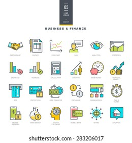Set of line modern color icons for business and finance