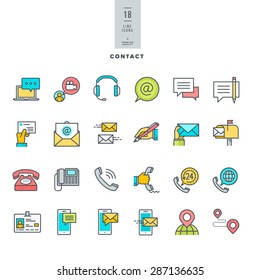 Set of line modern color icons for contact, communication, media