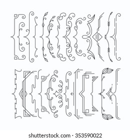 Set of line monochromatic graphical braces, brackets. Outline frame elements, parenthesis
