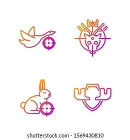 Set line Moose horns on shield, Hunt on rabbit with crosshairs, Hunt on duck with crosshairs and Hunt on deer with crosshairs. Gradient color icons. Vector