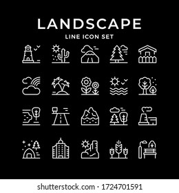 Set line outline icons of landscape