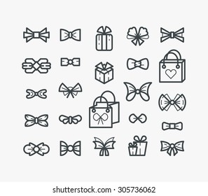 Set of line outline icons, monochromatic: isolated bows, bowties, packets and gifts.