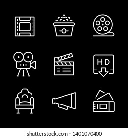 Set line outline icons of movie