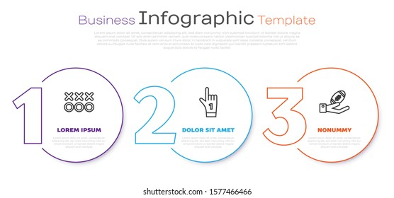Set line Planning strategy concept, Number 1 one fan hand glove with finger raised and American Football ball on hand. Business infographic template. Vector