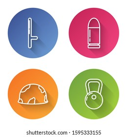 Set line Police rubber baton , Bullet , Military helmet  and Kettlebell . Color circle button. Vector