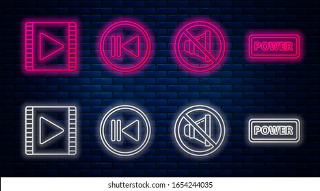 Set line Rewind, Speaker mute, Play Video and Power button. Glowing neon icon on brick wall. Vector