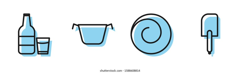 Set line Roll bun with cinnamon , Glass bottle with milk and glass , Cooking pot  and Spatula  icon. Vector