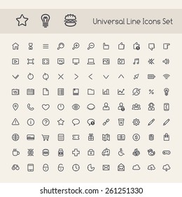 Set of Line Round Universal Icons. Isolated on White Background.