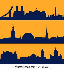 Set of line seamless patterns with  silhouette of Oslo, Stockholm and Helsinki.