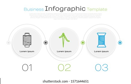 Set line Sewing thread on spool, Needle for sewing with thread and Sewing thread on spool. Business infographic template. Vector