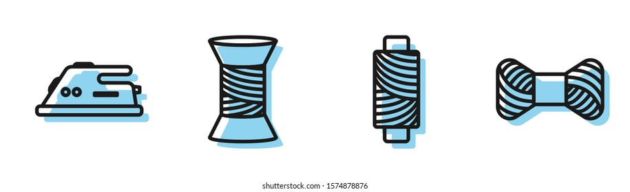 Set line Sewing thread on spool, Electric iron, Sewing thread on spool and Sewing thread on spool icon. Vector