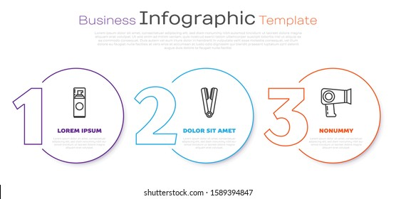 Set line Shaving gel foam, Curling iron for hair and Hair dryer. Business infographic template. Vector