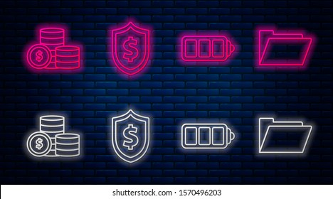 Set line Shield with dollar symbol, Battery charge level indicator, Coin money with dollar symbol and Document folder. Glowing neon icon on brick wall. Vector