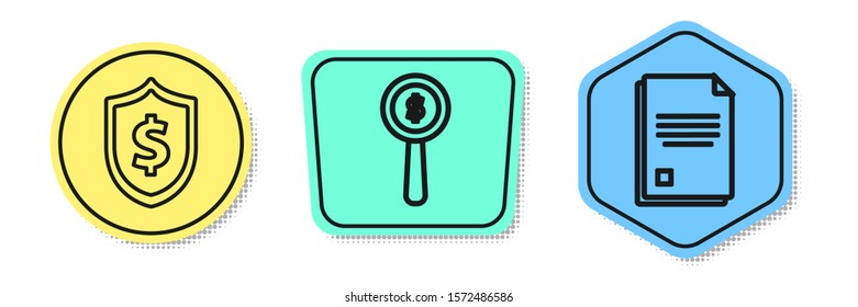 Set line Shield with dollar symbol, Magnifying glass and dollar symbol and File document. Colored shapes. Vector