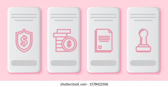 Set line Shield with dollar symbol, Coin money with dollar symbol, File document and Stamp. White rectangle button. Vector