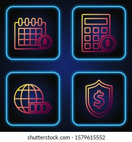 Set line Shield with dollar symbol, Battery charge level indicator with earth globe, Financial calendar and Calculator with dollar symbol. Gradient color icons. Vector