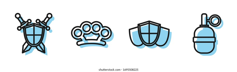 Set line Shield, Medieval shield with crossed swords, Brass knuckles and Hand grenade icon. Vector