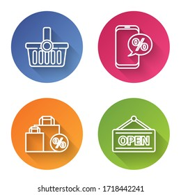 Set line Shopping basket, Percent discount and phone, Shoping bag with discount and Hanging sign with Open. Color circle button. Vector