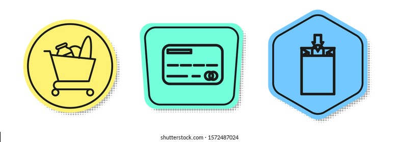 Set line Shopping cart and food, Credit card and Paper shopping bag. Colored shapes. Vector