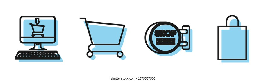 Set line Signboard hanging with an inscription shop here, Shopping cart on screen computer, Shopping cart and Paper shopping bag icon. Vector