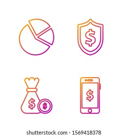 Set line Smartphone with dollar symbol, Money bag and coin, Pie chart infographic and Shield with dollar symbol. Gradient color icons. Vector