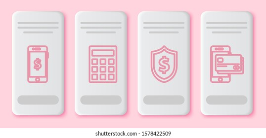 Set line Smartphone with dollar symbol, Calculator, Shield with dollar symbol and Mobile phone and credit card. White rectangle button. Vector