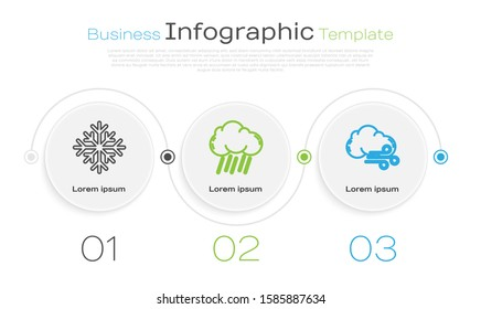 Set line Snowflake, Cloud with rain and Windy weather. Business infographic template. Vector