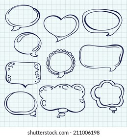 Set of line speech and thought bubbles on the paper texture