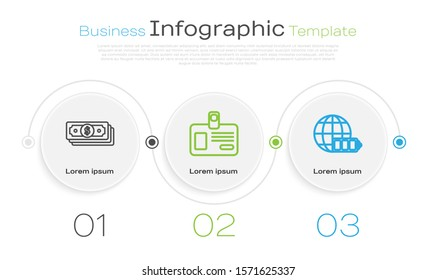 Set line Stacks paper money cash, Identification badge and Battery charge level indicator with earth globe. Business infographic template. Vector