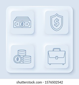 Set line Stacks paper money cash, Shield with dollar symbol, Coin money with dollar symbol and Briefcase. White square button. Vector