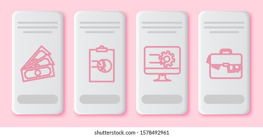 Set line Stacks paper money cash, Clipboard with graph chart, Computer monitor with graph chart and Briefcase and money. White rectangle button. Vector