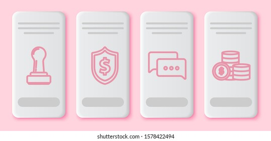 Set line Stamp, Shield with dollar symbol, Speech bubble chat and Coin money with dollar symbol. White rectangle button. Vector