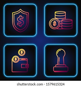 Set line Stamp, Wallet with coins, Shield with dollar symbol and Coin money with dollar symbol. Gradient color icons. Vector