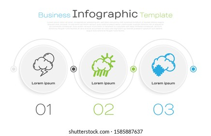 Set line Storm, Cloud with rain and sun and Cloud with snow and sun. Business infographic template. Vector