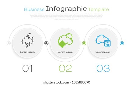 Set line Storm, Cloud with snow and sun and Celsius and cloud. Business infographic template. Vector