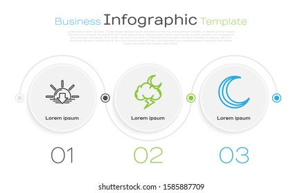Set line Sunset, Storm and Moon and stars. Business infographic template. Vector